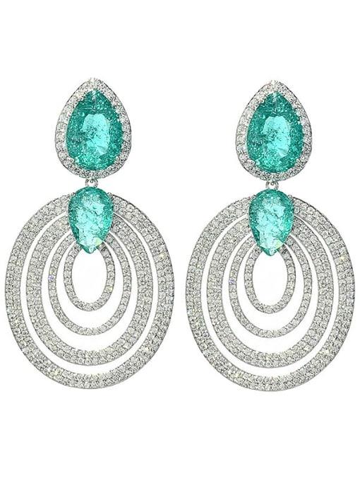green Brass Cubic Zirconia Geometric Vintage Cluster Earring