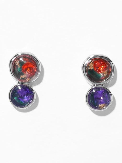 platinum Brass Rhinestone Geometric Minimalist Stud Earring