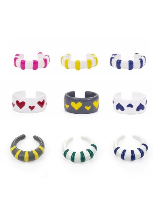 Five Color Zinc Alloy Enamel Heart Minimalist Band Ring 0