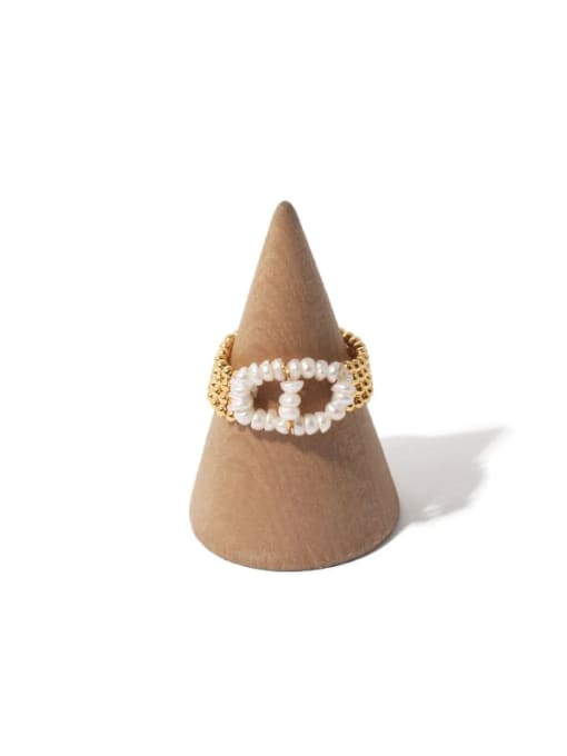 Pig nose ring Brass Bead Chain Vintage Stackable Ring