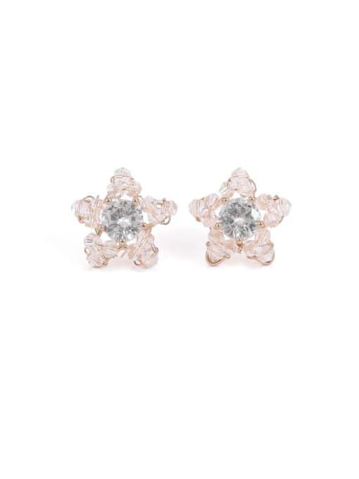 stars Brass Cubic Zirconia Star Minimalist Stud Earring