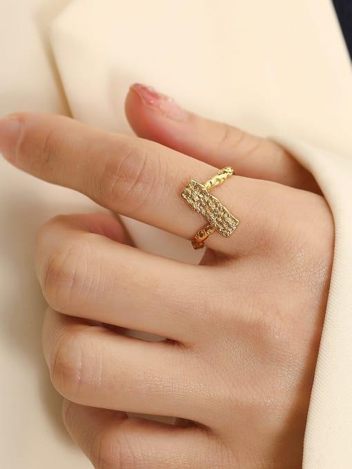 HYACINTH Brass Irregular Geometric Vintage Band Ring