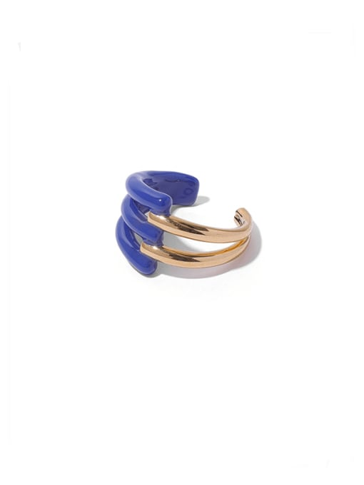 Blue  (No. 7 ring and No. 8 ring can ) Zinc Alloy Enamel Geometric Minimalist Band Ring