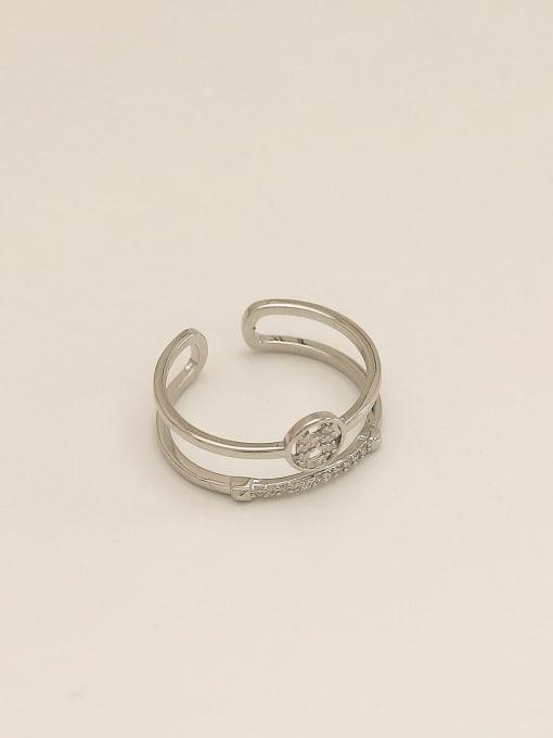 white K Brass Cubic Zirconia Geometric Vintage Band Ring