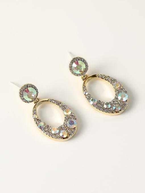 HYACINTH Brass Rhinestone Geometric Vintage Drop Earring 2