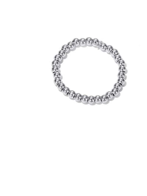 Platinum Brass Bead Round Minimalist Band Ring