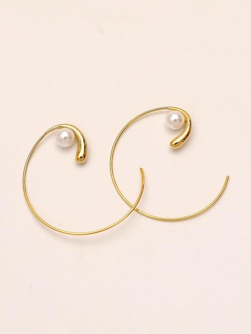 14k gold Brass Imitation Pearl Line Geometric Minimalist Hoop Earring