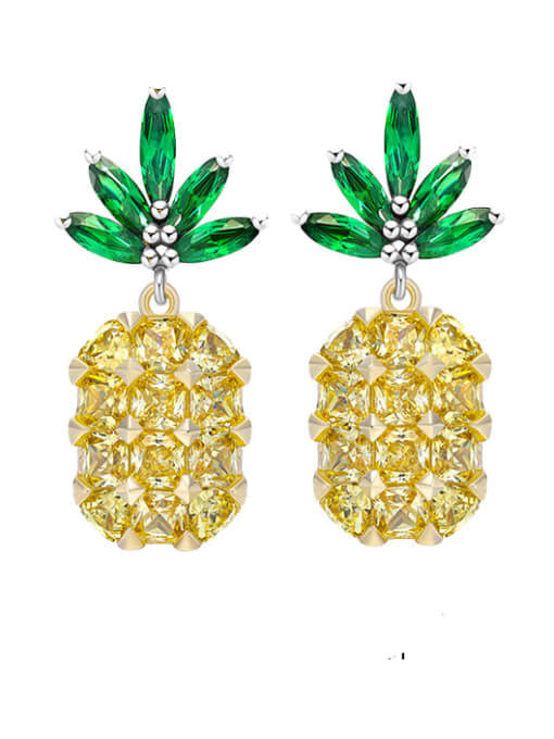 OUOU Brass Cubic Zirconia Friut Luxury Drop Earring 0