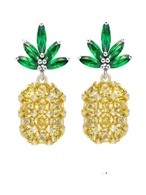 OUOU Brass Cubic Zirconia Friut Luxury Drop Earring