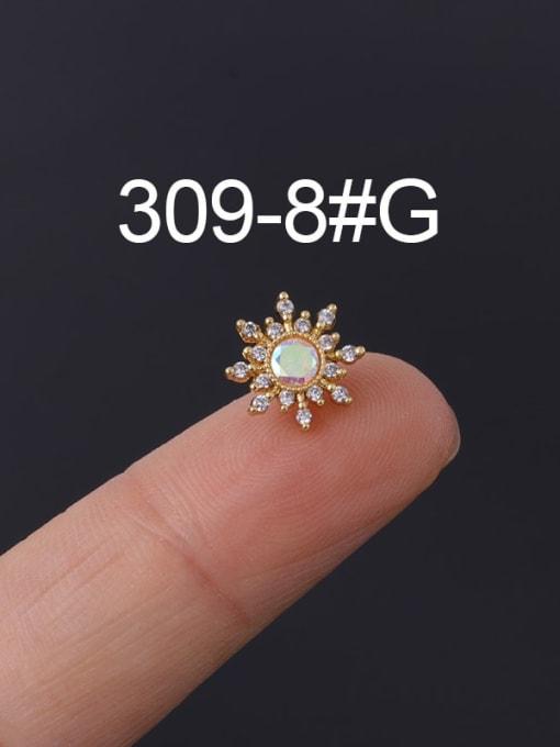 8 Gold Single Brass Cubic Zirconia Geometric Hip Hop Chandelier Earring