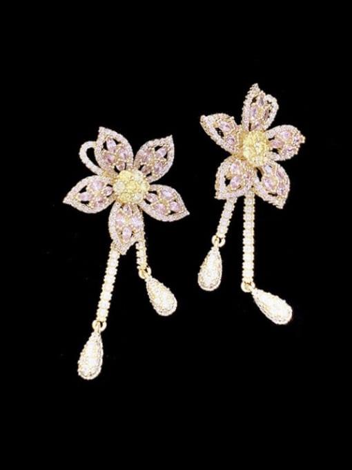 SUUTO Brass Cubic Zirconia Flower Vintage Cluster Earring 2