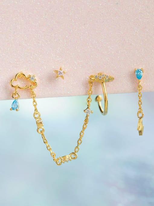 COLSW Brass Cubic Zirconia Irregular Minimalist Single Earring 0