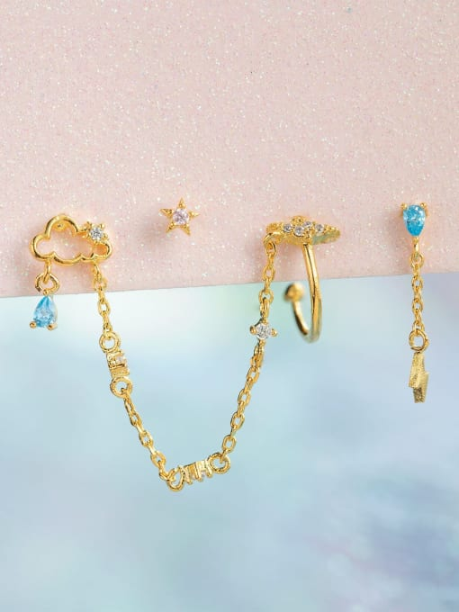 COLSW Brass Cubic Zirconia Irregular Minimalist Single Earring