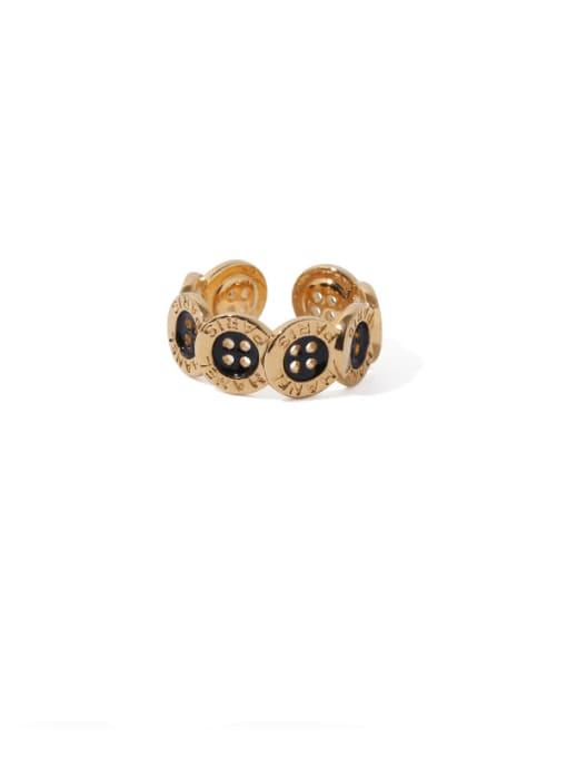 golden Brass Enamel Irregular Vintage Band Ring