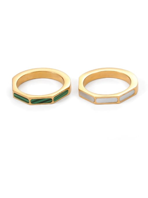 Five Color Brass shell Geometric Minimalist Band Ring 0