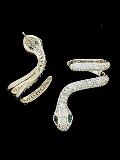 SUUTO Brass Cubic Zirconia Snake Luxury Stud Earring 1