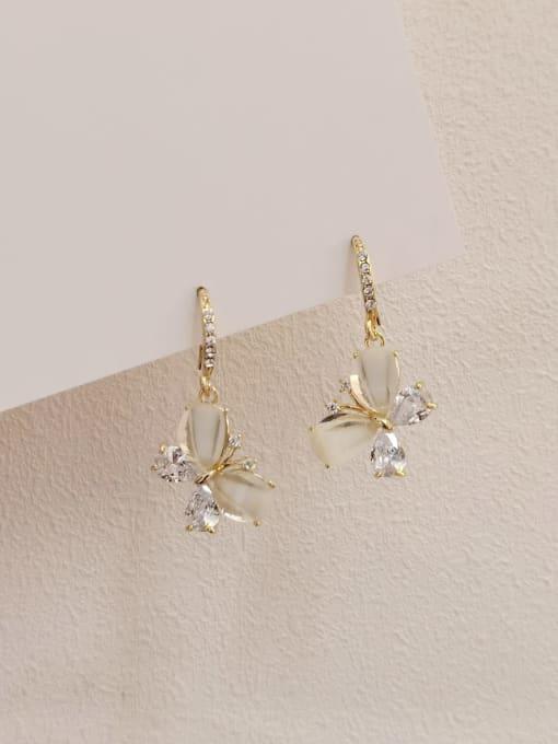 14k Gold Brass Cats Eye Butterfly Minimalist Drop Earring