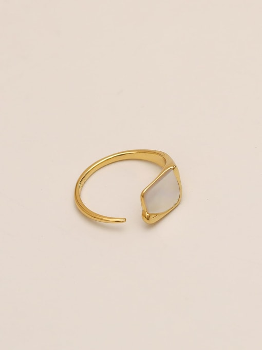 14k Gold Brass Shell Geometric Minimalist Band Ring
