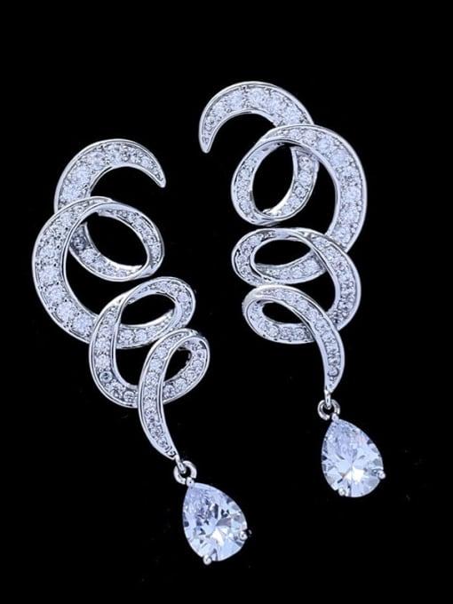 platinum Brass Cubic Zirconia Water Drop Luxury Drop Earring