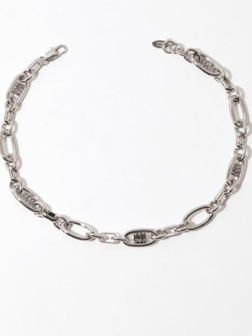 Platinum necklace Brass Cubic Zirconia Geometric Hip Hop Necklace