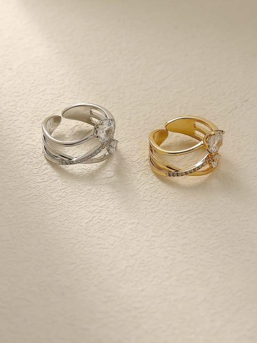 HYACINTH Brass Rhinestone Cross Minimalist Stackable Ring 2