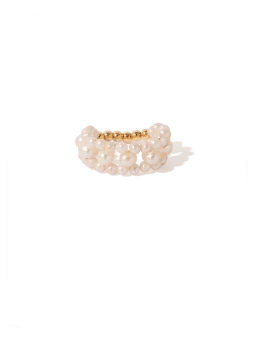 natural pearl Brass Freshwater Pearl Round Vintage Band Ring