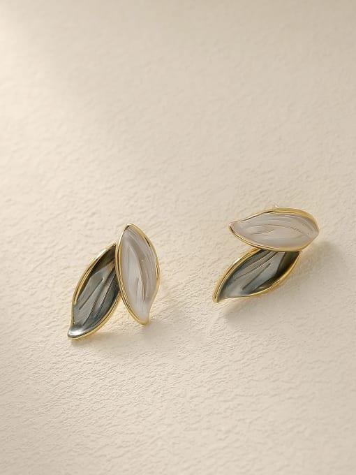 HYACINTH Brass Tree Leaf Minimalist Stud Earring 3