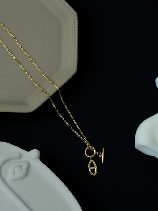 Five Color Brass Hollow Geometric Minimalist Necklace 4