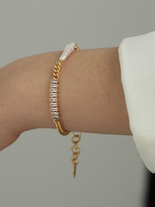Five Color Brass Cubic Zirconia Geometric Hip Hop Link Bracelet 2