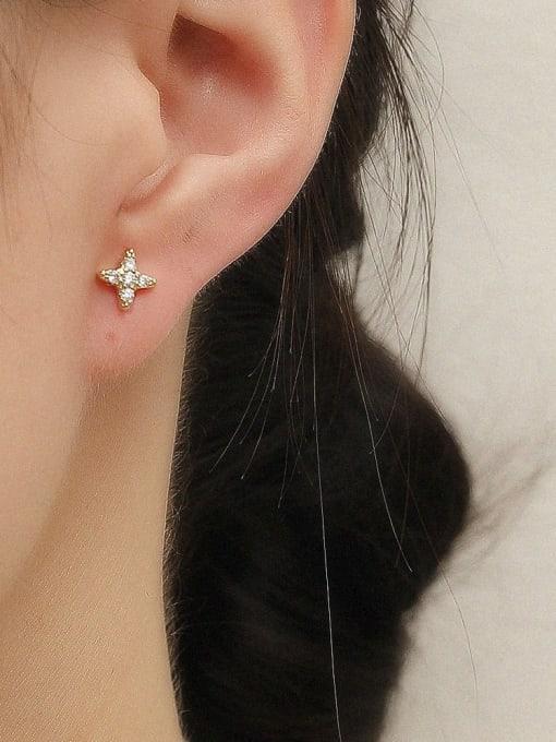 HYACINTH Brass Cubic Zirconia Asymmetry Moon Vintage Drop Trend Korean Fashion Earring 2