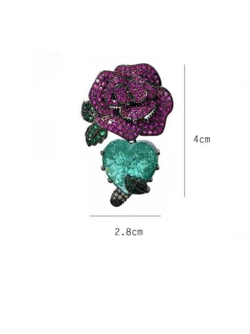 SUUTO Brass Cubic Zirconia Flower Ethnic Stud Earring 1