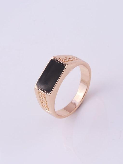 golden Zinc Alloy Enamel Geometric Vintage Band Ring
