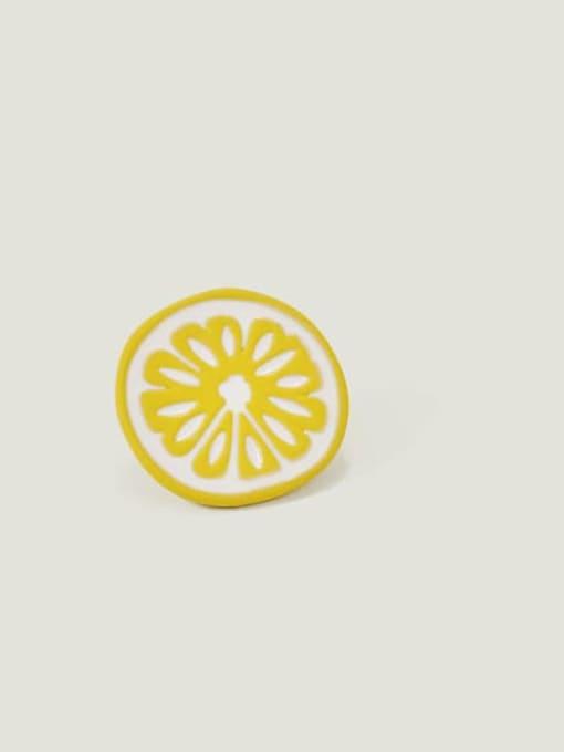 Yellow circle Alloy Enamel Friut Cute Stud Earring