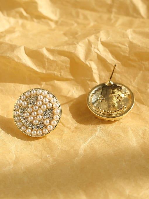 HYACINTH Brass Imitation Pearl Geometric Bohemia Stud Earring 2