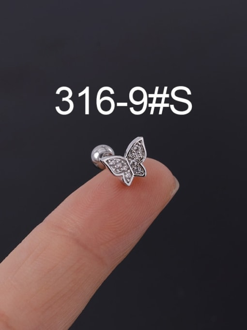 9S Stainless steel with Cubic Zirconia Ear Bone Nail/Puncture Earring
