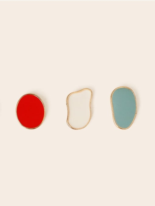 Five Color Alloy Enamel Geometric Ethnic Stud Earring 1