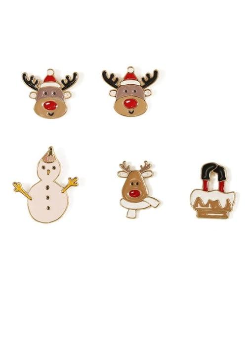Five Color Alloy Enamel Asymmetry Deer Snowman Cute Stud Earring 4
