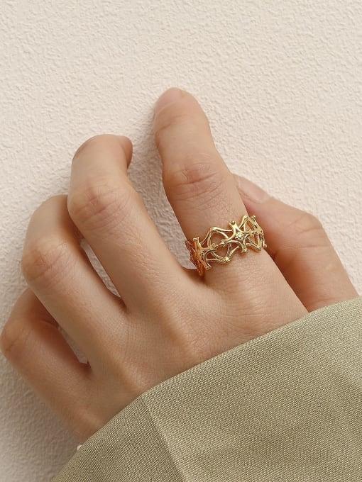 HYACINTH Brass Hollow  Flower Minimalist Band Ring 2
