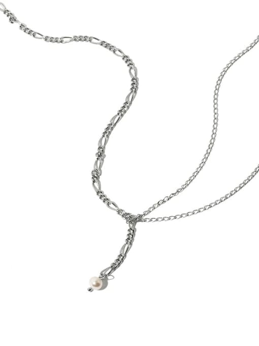 Five Color Brass Minimalist Simple retro pearl Y word Double chain necklace 2