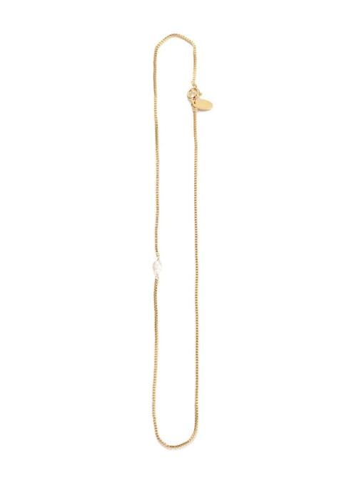 Five Color Brass Imitation Pearl Vintage   Geometric Chain  Necklace 0