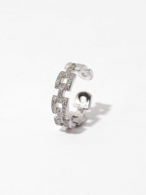 TINGS Brass Cubic Zirconia Geometric Minimalist Band Ring 2