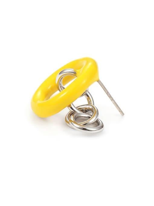 Five Color Brass Enamel Geometric Minimalist Stud Earring 3