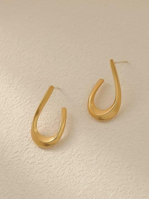 Nostalgic gold Brass Smooth Geometric Vintage Stud Trend Korean Fashion Earring