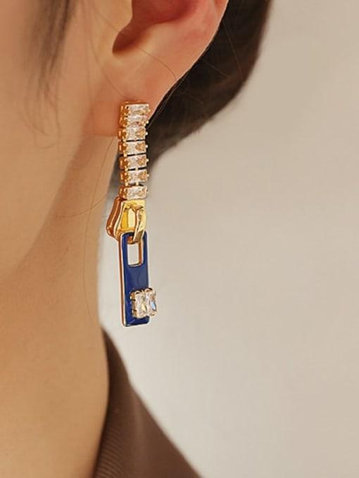 Sapphire blue oil dripping Earrings Brass Cubic Zirconia Rectangle Minimalist Drop Earring