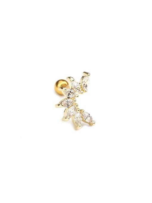 gold(Single) Brass+Titanium Steel Cubic Zirconia Leaf Cute Stud Earring