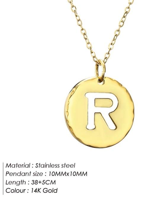R Titanium Steel Letter Minimalist Round Pendant Necklace