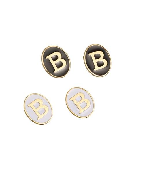 ACCA Brass Enamel Letter Cute Stud Earring