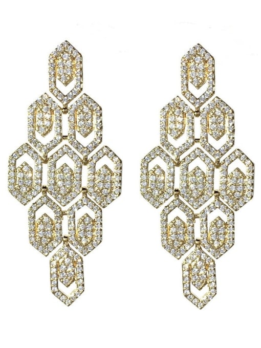 golden Brass Cubic Zirconia Geometric Hip Hop Cluster Earring