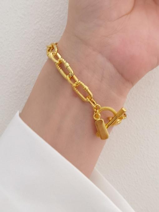 HYACINTH Brass Hollow Geometric  China Vintage Link Bracelet 1