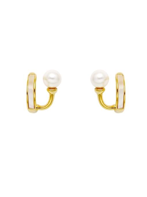 HYACINTH Brass Shell Geometric Minimalist Huggie Earring